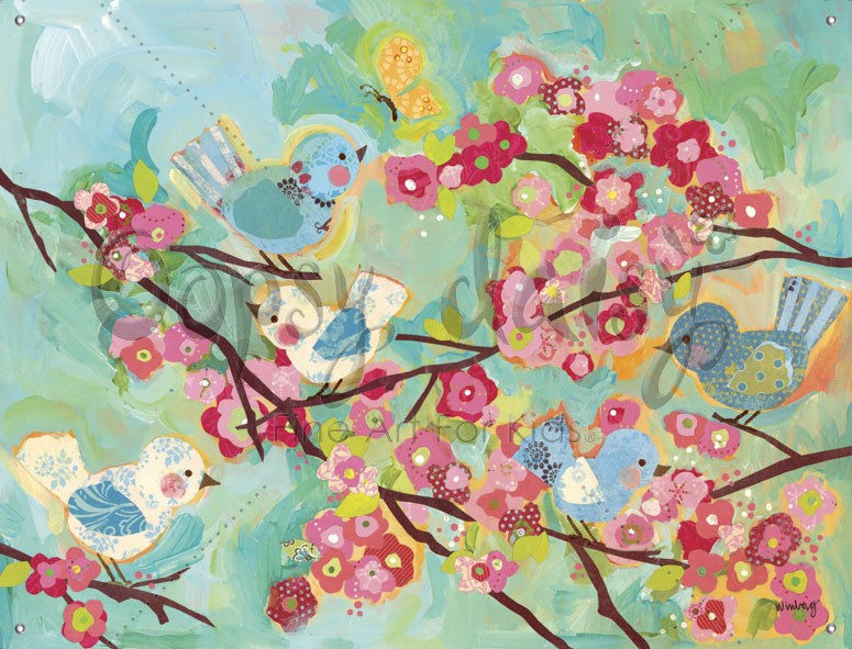 Cherry blossom birdies canvas wall mural by oopsy daisy for Cherry blossom mural on walls