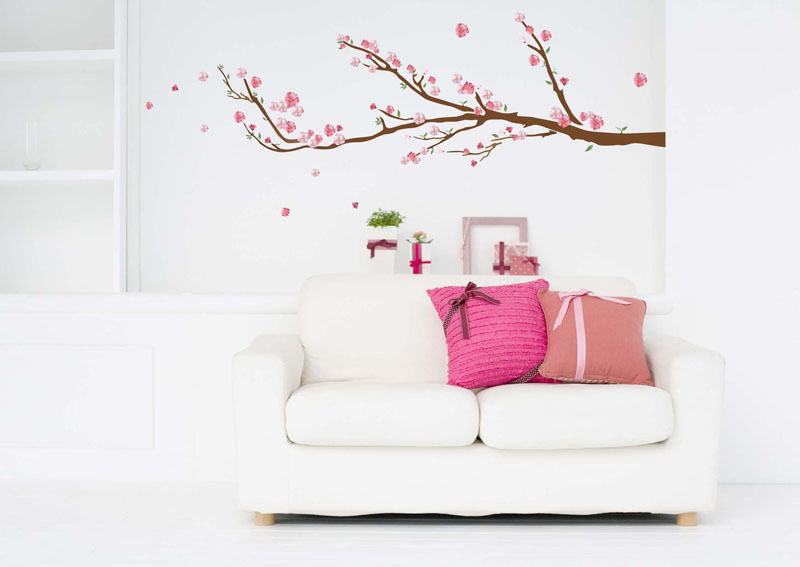 Wall Art Decals Cherry Blossom : Cherry blossoms wall decals rosenberryrooms