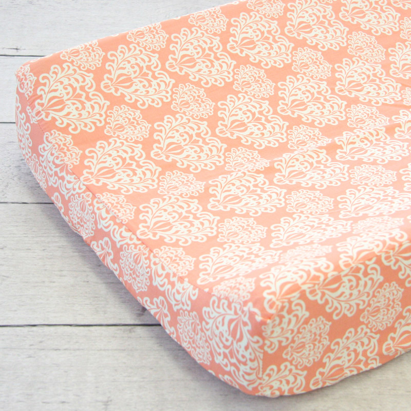 chloe 39 s coral damask changing pad cover by caden lane. Black Bedroom Furniture Sets. Home Design Ideas