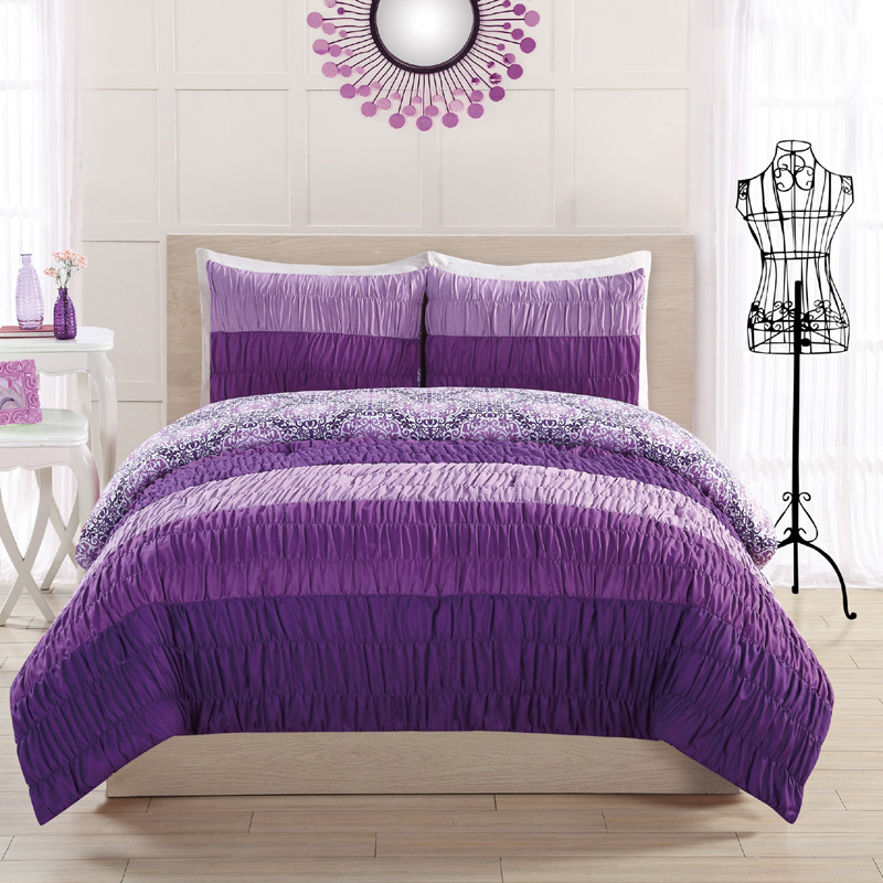 Colorfall ruching purple comforter set for Bedding violet