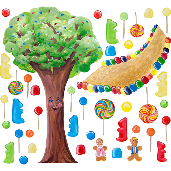 Cotton candy land whimsical tree wall stickers for Candy wall mural