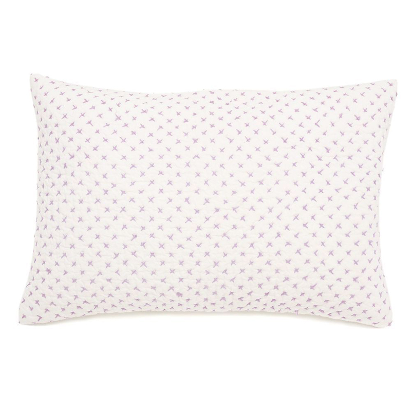 Cross Stitch Decorative Pillow Sham in Lilac by Little Auggie