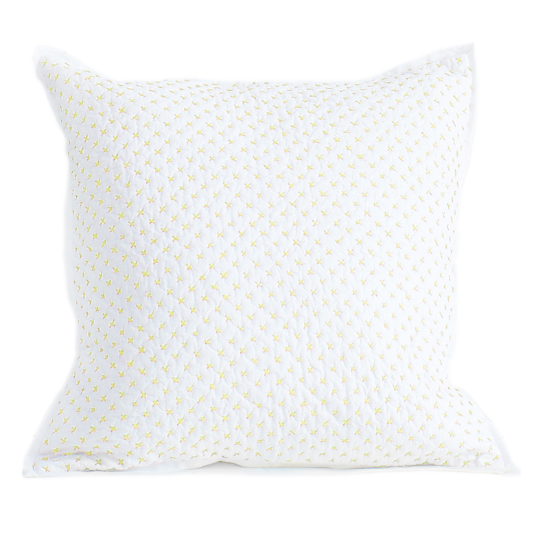 Cross Stitch Quilted Decorative Pillow Cover in Fern by Little Auggie