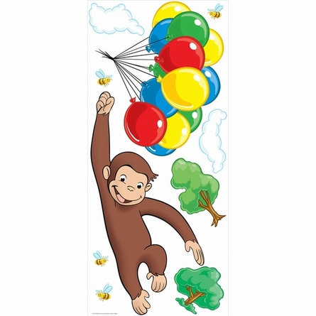 Curious george giant peel stick wall mural for Curious george mural