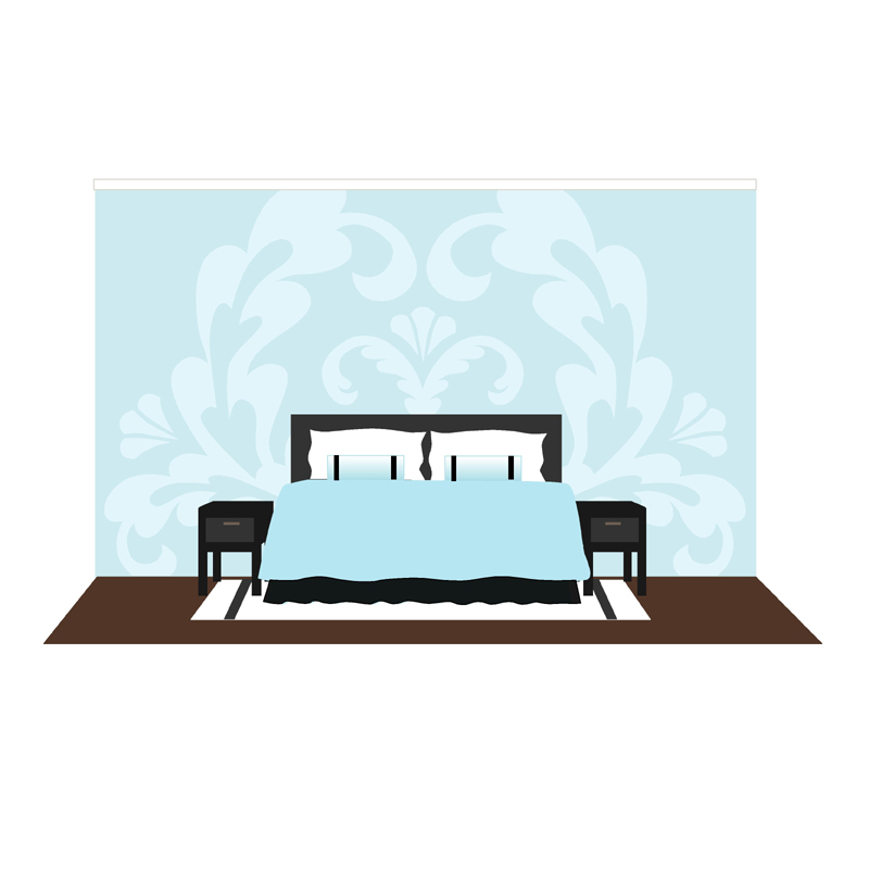 Damask one paint by number wall mural by elephants on the wall for Damask wall mural