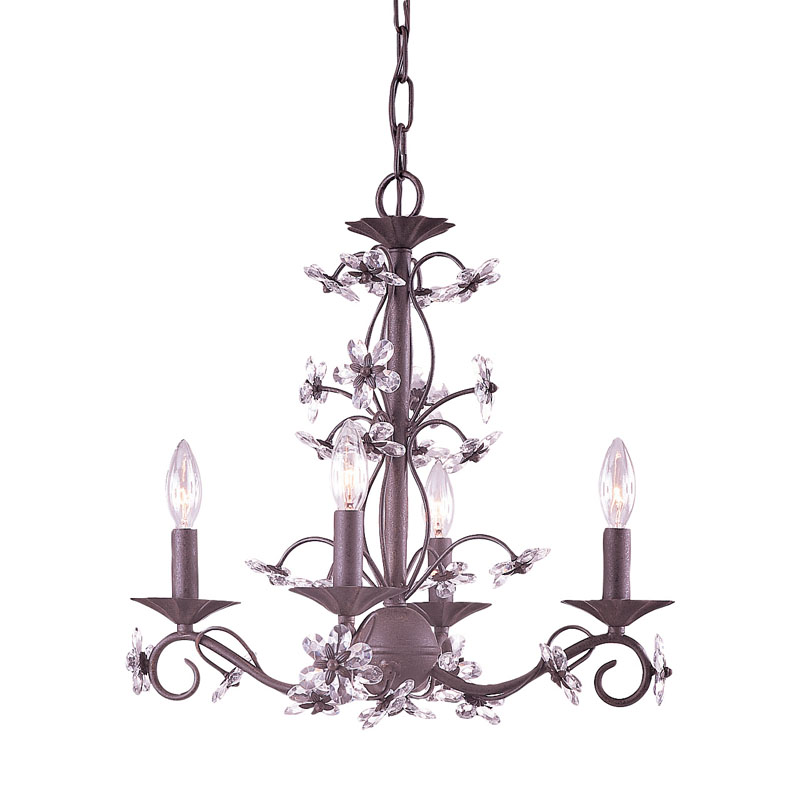 Dark Rust Wrought Iron Chandelier With Hand Polished