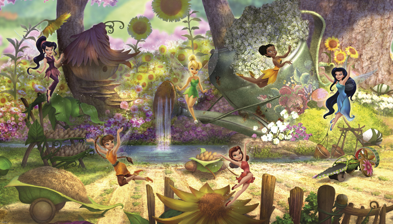Disney fairies pixie hollow prepasted wall mural for Disney tinkerbell mural