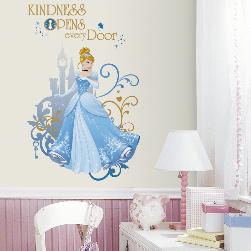 Disney princess cinderella giant wall decals for Disney princess wall mural stickers