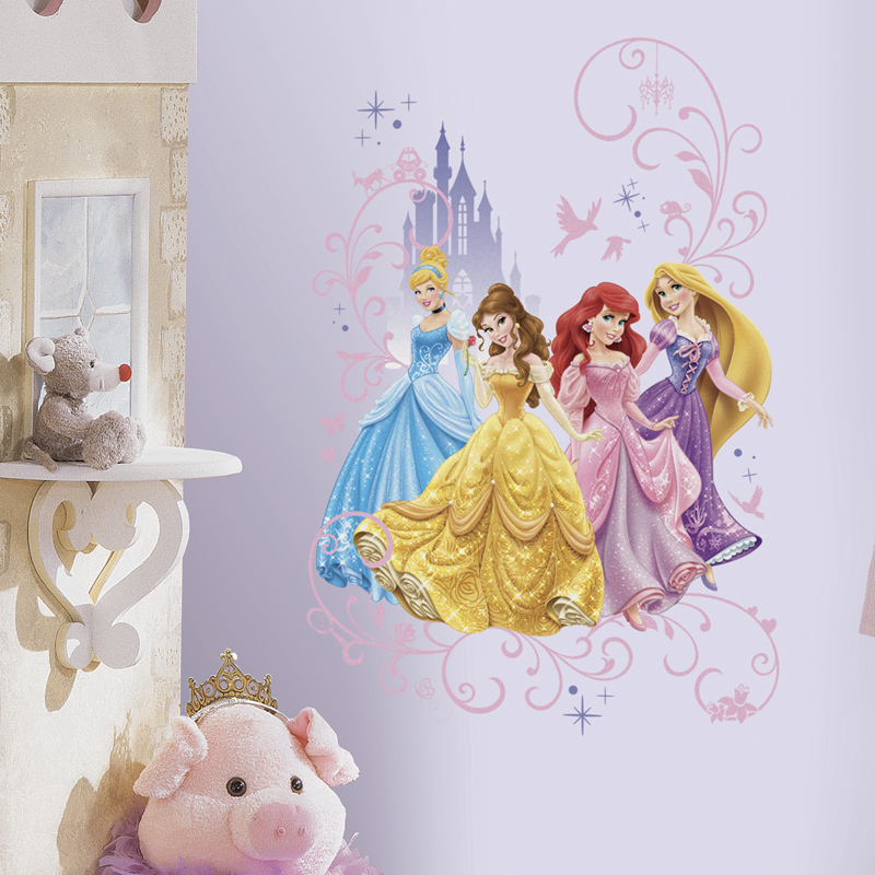 Disney princess giant wall decals for Disney princess wall mural stickers