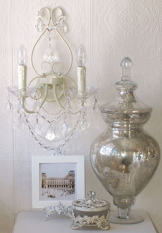 Double Light Antique White Crystal Wall Sconce - RosenberryRooms.com