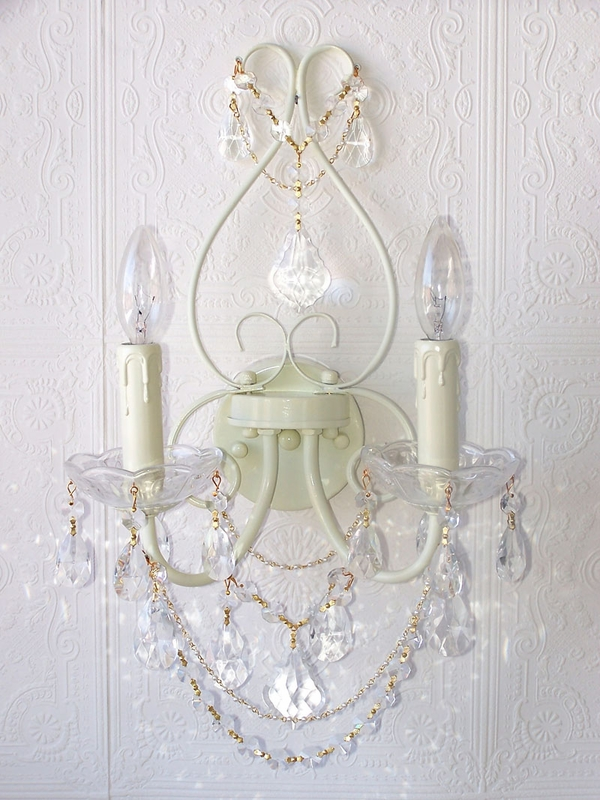 Double Light Ivory Crystal Wall Sconce - RosenberryRooms.com