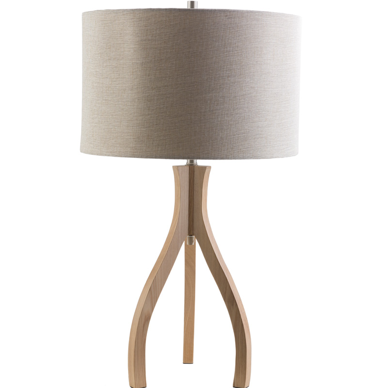duxbury wood table lamp with beige shade by surya. Black Bedroom Furniture Sets. Home Design Ideas