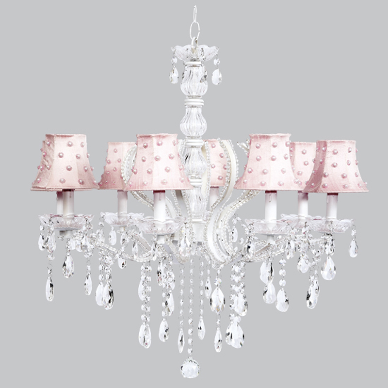 Eight arm pageant white beaded chandelier with pink pearl dot shades - White chandelier with shades ...