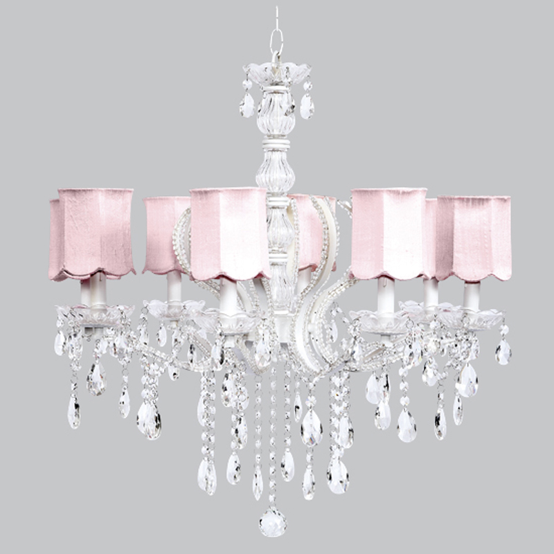 Eight arm pageant white beaded chandelier with pink scallop shades - White chandelier with shades ...