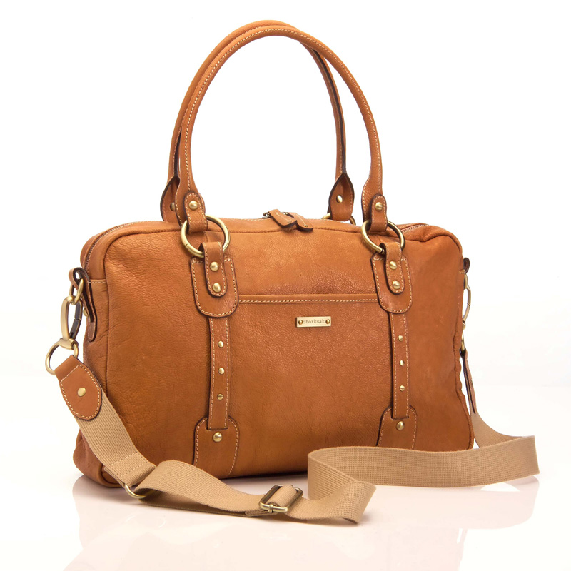 elizabeth leather diaper bag in tan by storksak. Black Bedroom Furniture Sets. Home Design Ideas