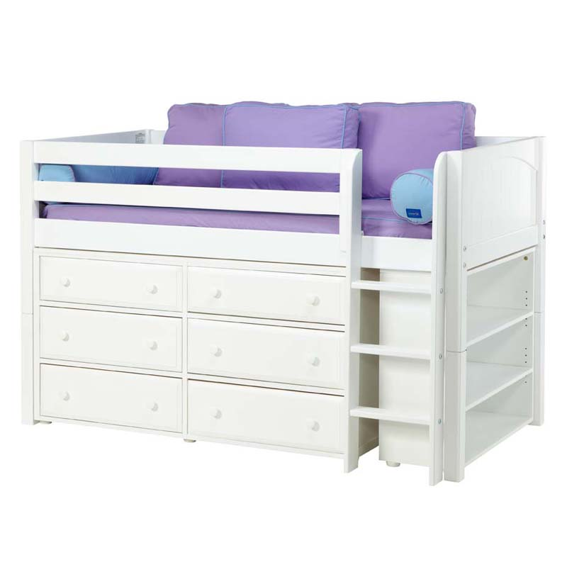 box low loft bed with dressers and bookcase. Black Bedroom Furniture Sets. Home Design Ideas