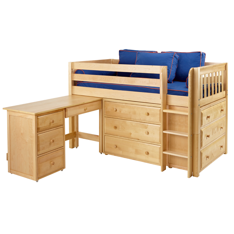 Box low loft bed with dressers and desk for Queen bunk bed with desk