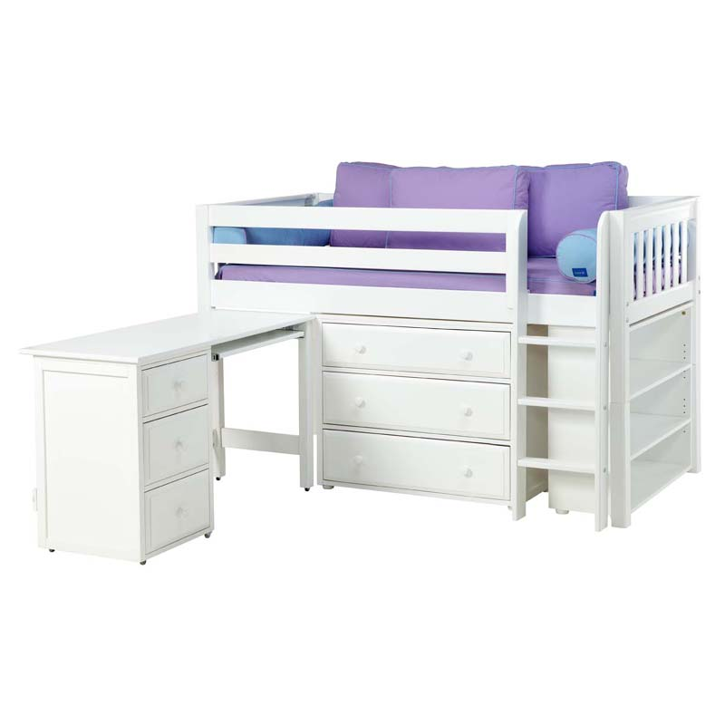 box low loft bed with dressers desk and bookcase. Black Bedroom Furniture Sets. Home Design Ideas