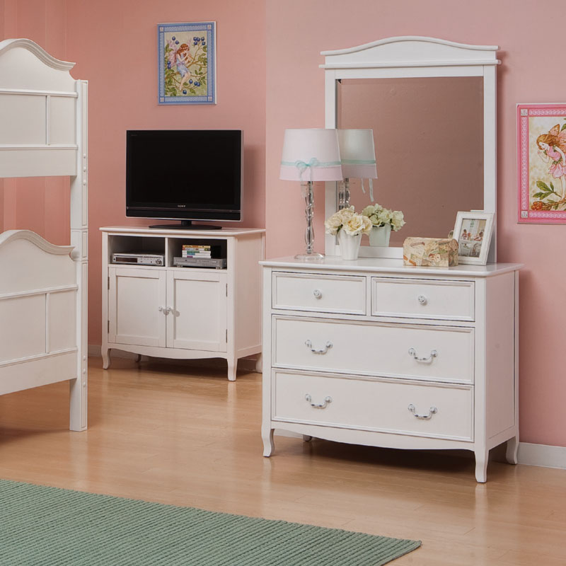 emma 4 drawer dresser with mirror in white. Black Bedroom Furniture Sets. Home Design Ideas