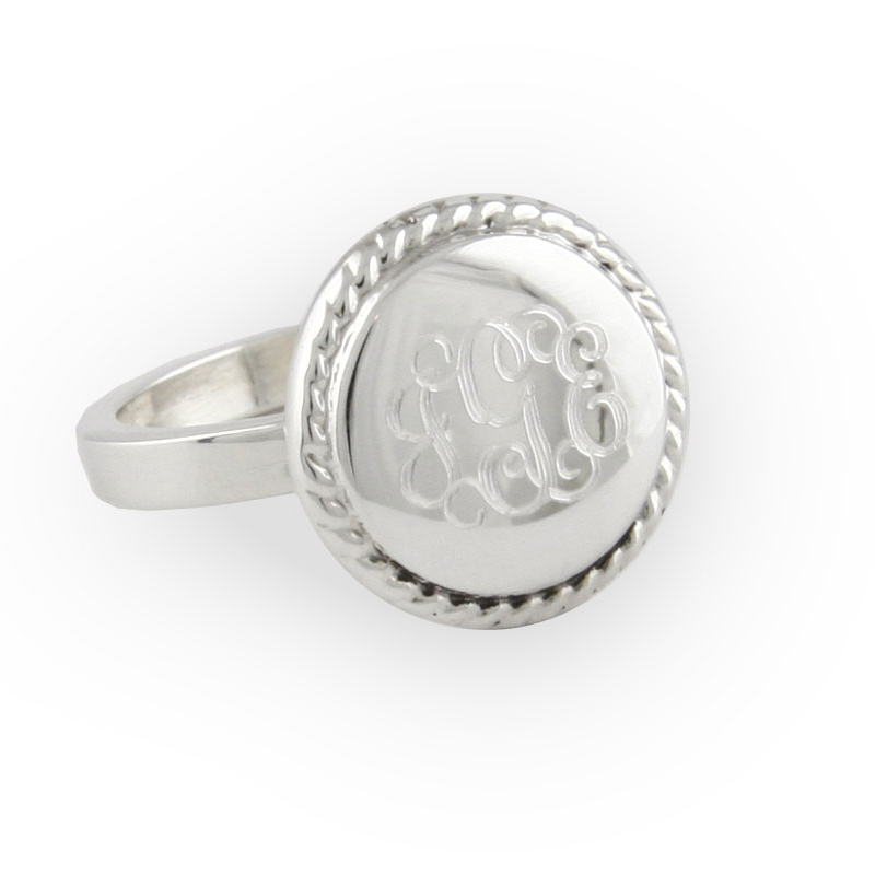 Engraved Sterling Silver Braided Round Ring - RosenberryRooms.com