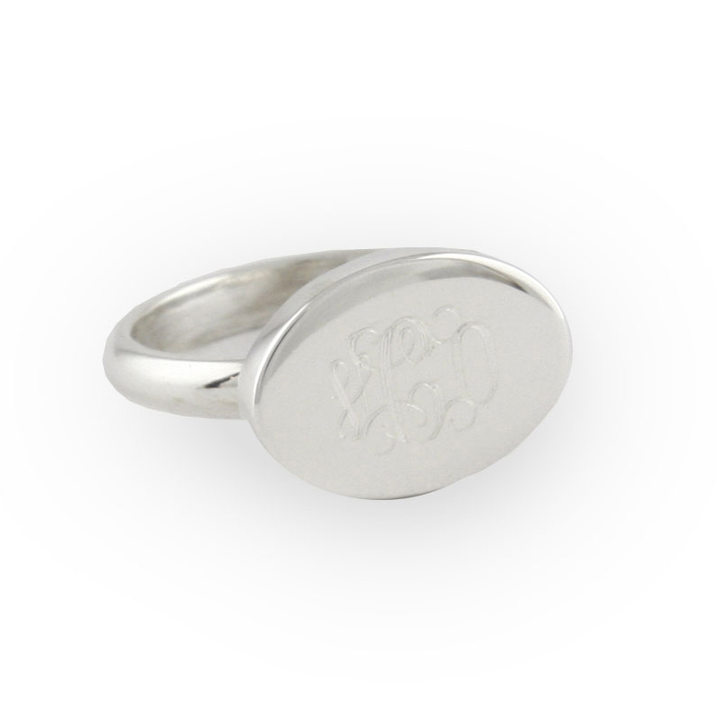 engraved sterling silver horizontal oval ring. Black Bedroom Furniture Sets. Home Design Ideas