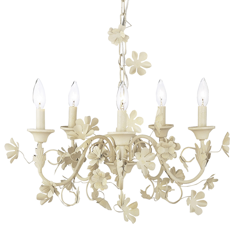 Hobo Rugs Five Arm Ivory Flower Garden Chandelier by Jubilee Collection