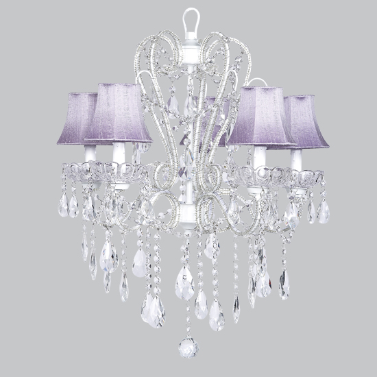 Five arm whimsical beaded chandelier in white with lavender shades - White chandelier with shades ...