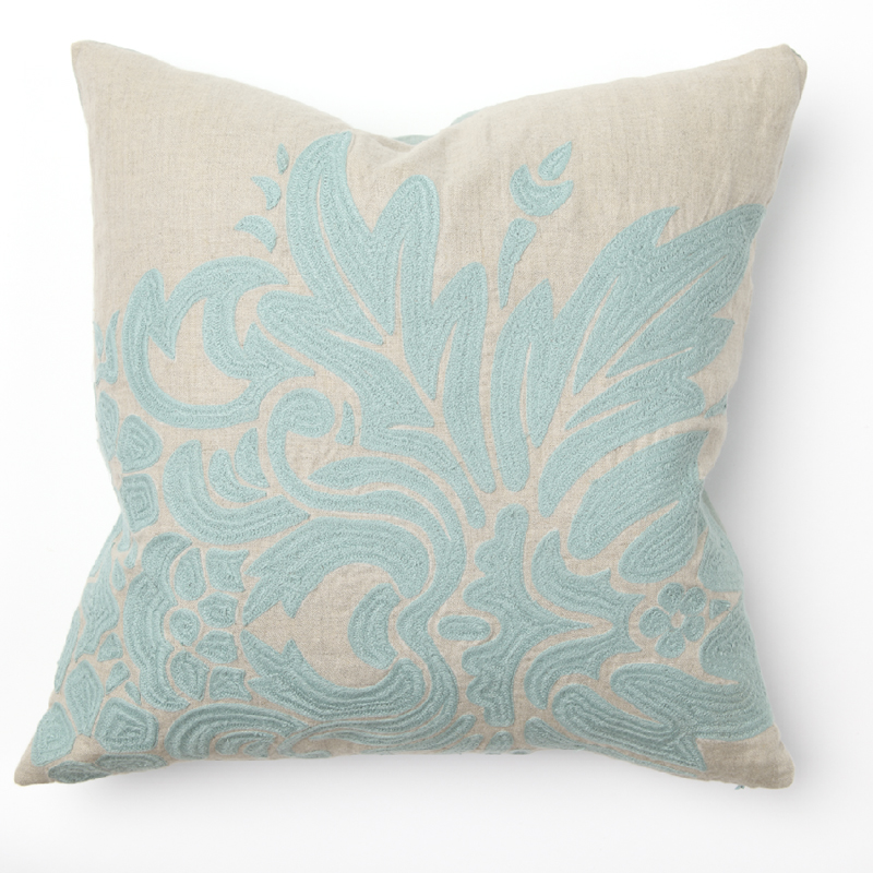 Flora Turquoise Embroidery Throw Pillow by Villa Home Collection
