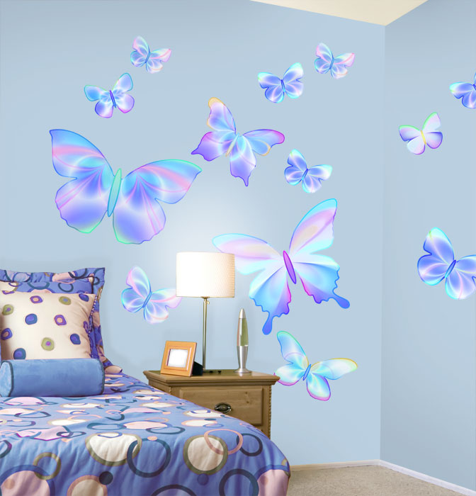 Fluttering butterfly peel and stick wall mural in for Butterfly wall mural stickers
