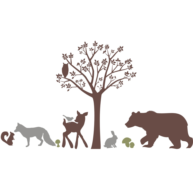forest critters wall decal by alphabet garden designs. Black Bedroom Furniture Sets. Home Design Ideas