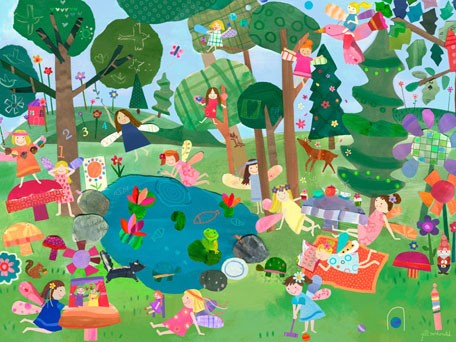 Forest fairies mural wall decal by oopsy daisy for Fairy forest mural