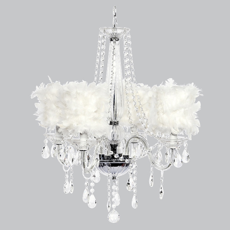 Four arm middleton glass chandelier with white feather shades - White chandelier with shades ...