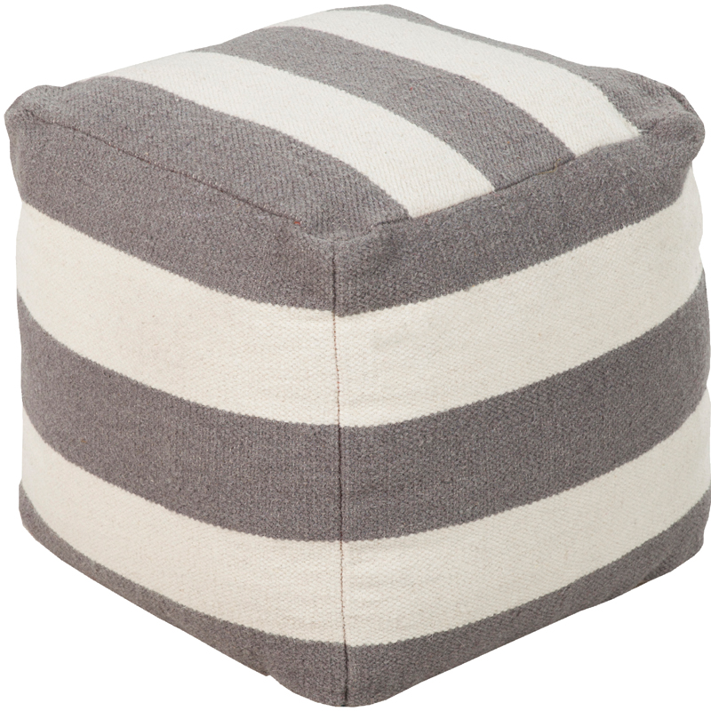 frontier stripe pouf in gray by surya. Black Bedroom Furniture Sets. Home Design Ideas