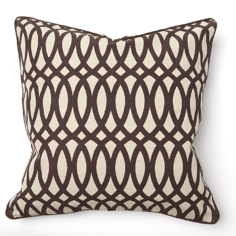 Throw Pillows Brown : Geo Print Brown Throw Pillow by Villa Home Collection