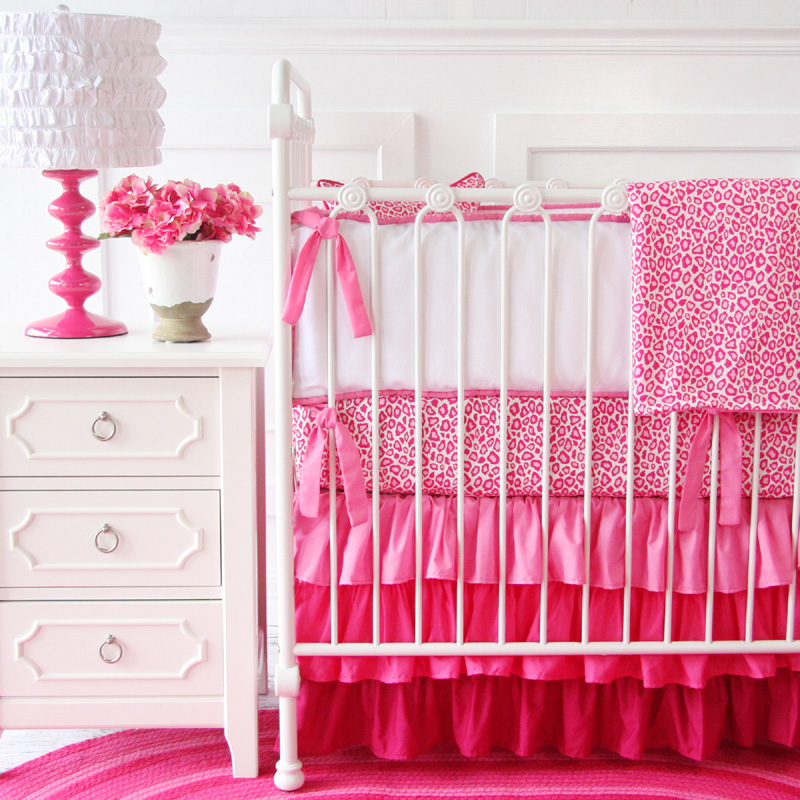 girly pink leopard ruffle crib bedding set by caden lane