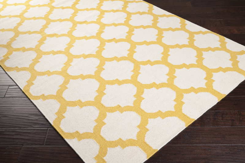 golden yellow and white trellis frontier rug by surya. Black Bedroom Furniture Sets. Home Design Ideas
