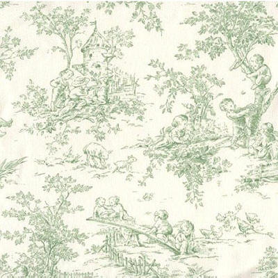 Green baby toile doodlefish fabric by the yard by doodlefish for Baby fabric by the yard