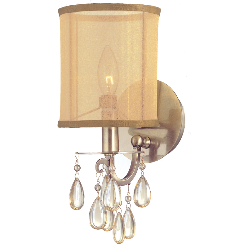 Vintage Crystal Wall Sconces : Hampton Antique Brass Crystal Wall Sconce with Silk Shade