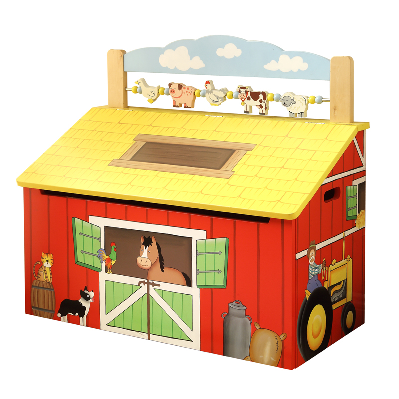 Toy Boxes For Boys : Happy farm wooden toy box rosenberryrooms