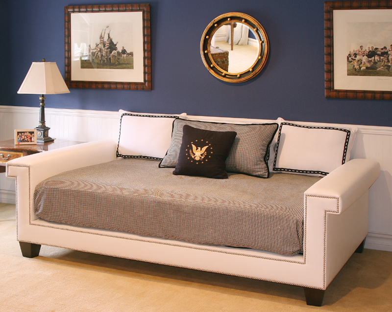 Hudson full day bed in angel fabric with polished nickel nailheads Bed in a couch
