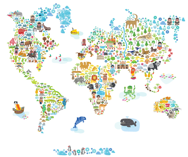 Iconic cultural world map fabric wall decal by pop lolli for Fabric world