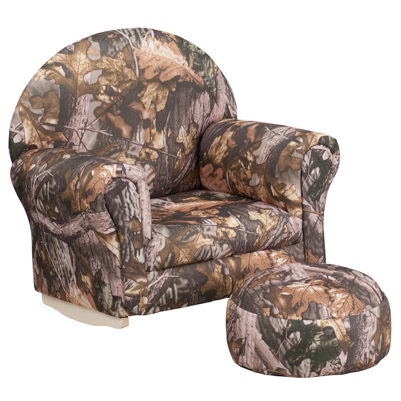 Kids camouflage rocking chair with ottoman for Childrens rocking chair with footstool