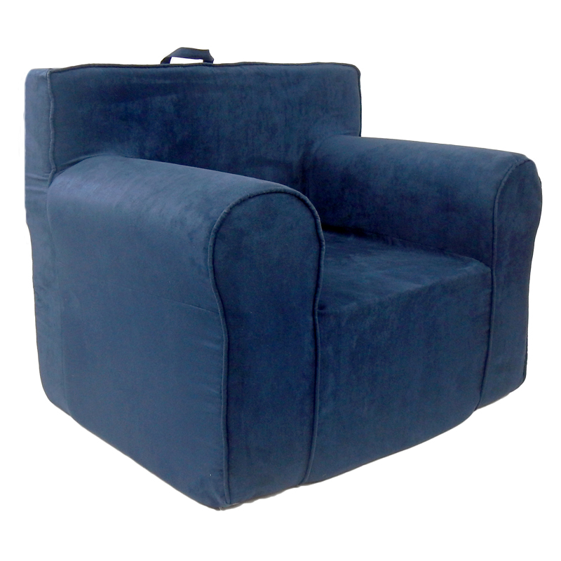 The ultimate kids chair in navy blue microsuede for Toddler foam chair