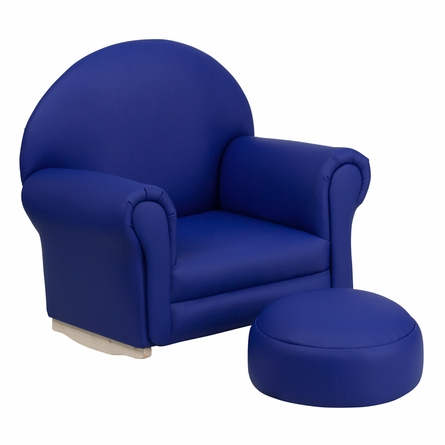 Kids navy vinyl rocking chair and ottoman for Childrens rocking chair with footstool