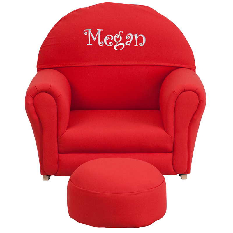 Kids red fabric rocking chair and ottoman for Childrens rocking chair with footstool
