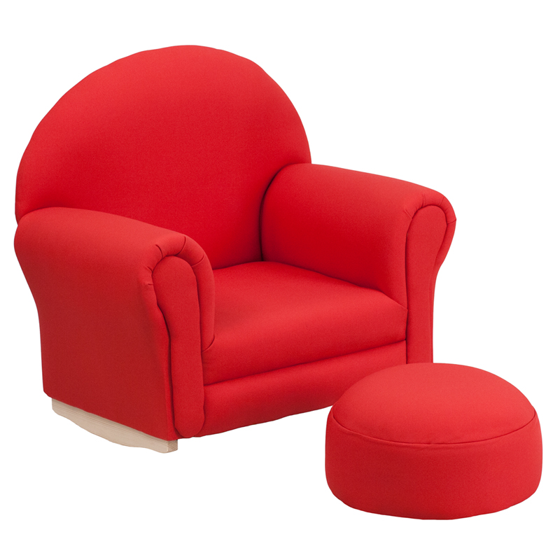 Child Red Rocking Chair ~ Kids red fabric rocking chair and ottoman