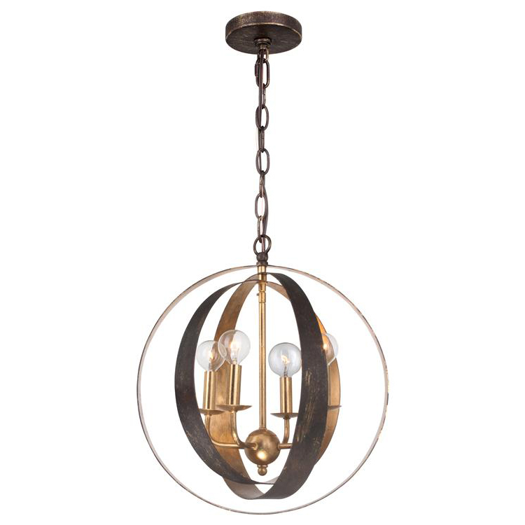 Luna Four Light Bronze Gold Sphere Chandelier By Crystorama
