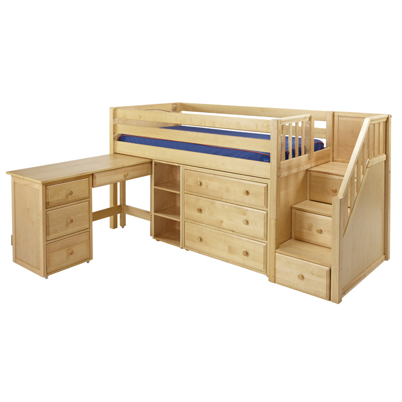 Great low loft bed with dresser bookcase desk and staircase for Loft bunk bed with desk