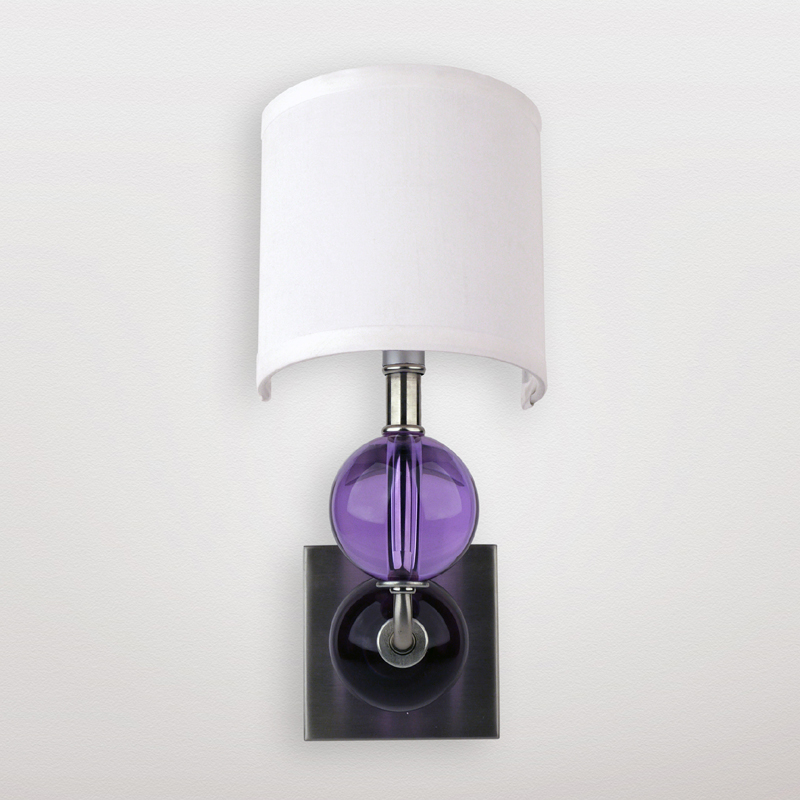 Metal Wall Sconce Light Fixtures : Mars Lavender Crystal Sphere Wall Sconce by Maura Daniel
