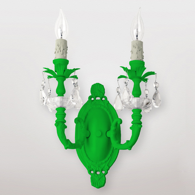 Mercury Neon Green Clear Crystal Double Wall Sconce by Maura Daniel